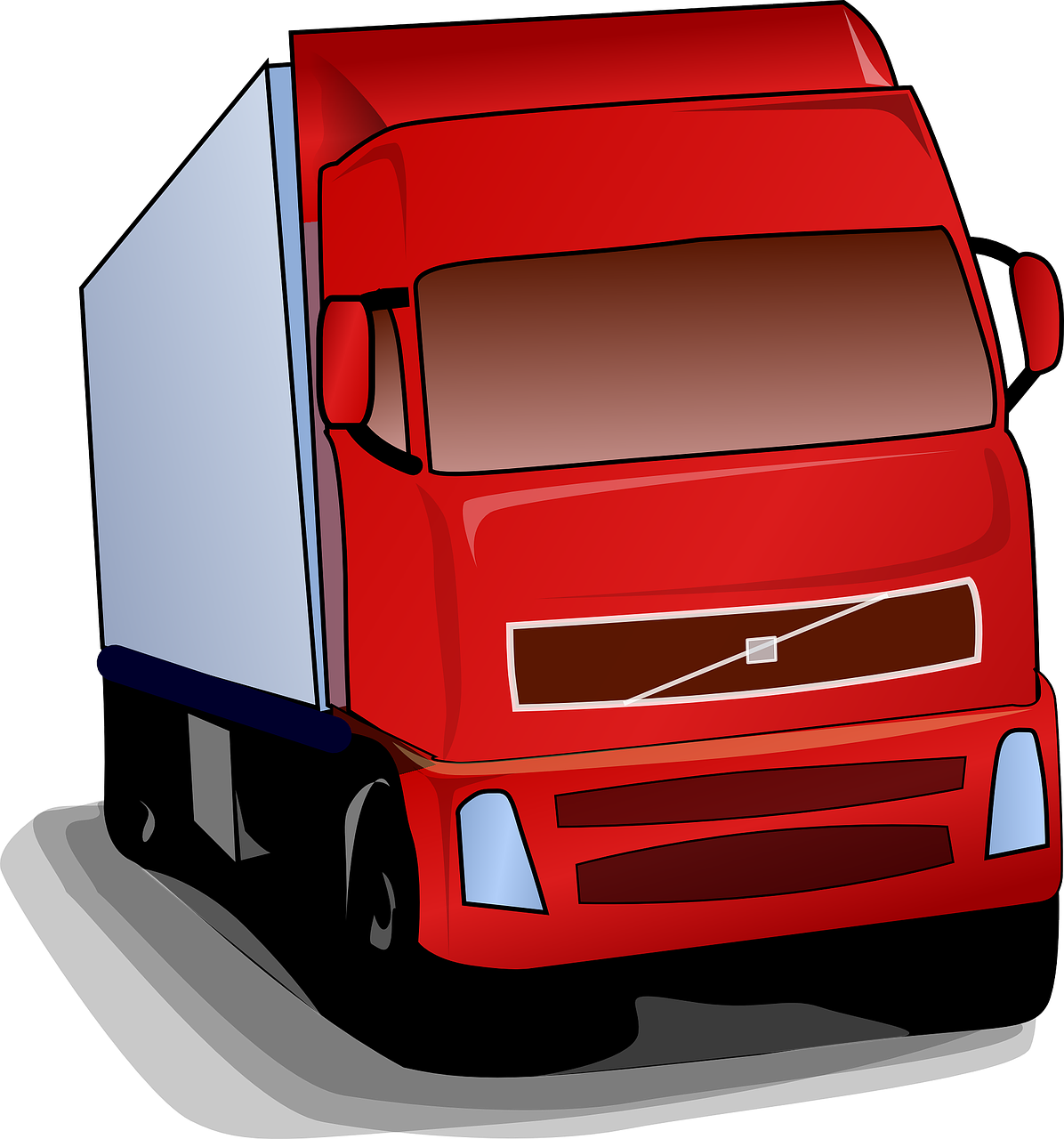 truck, lorry, red